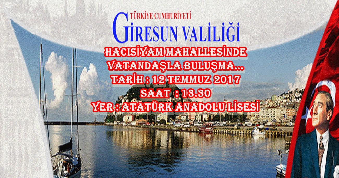 Sayın Valimiz, Hacısiyam Mahallesinde Vatandaşla Buluşacak