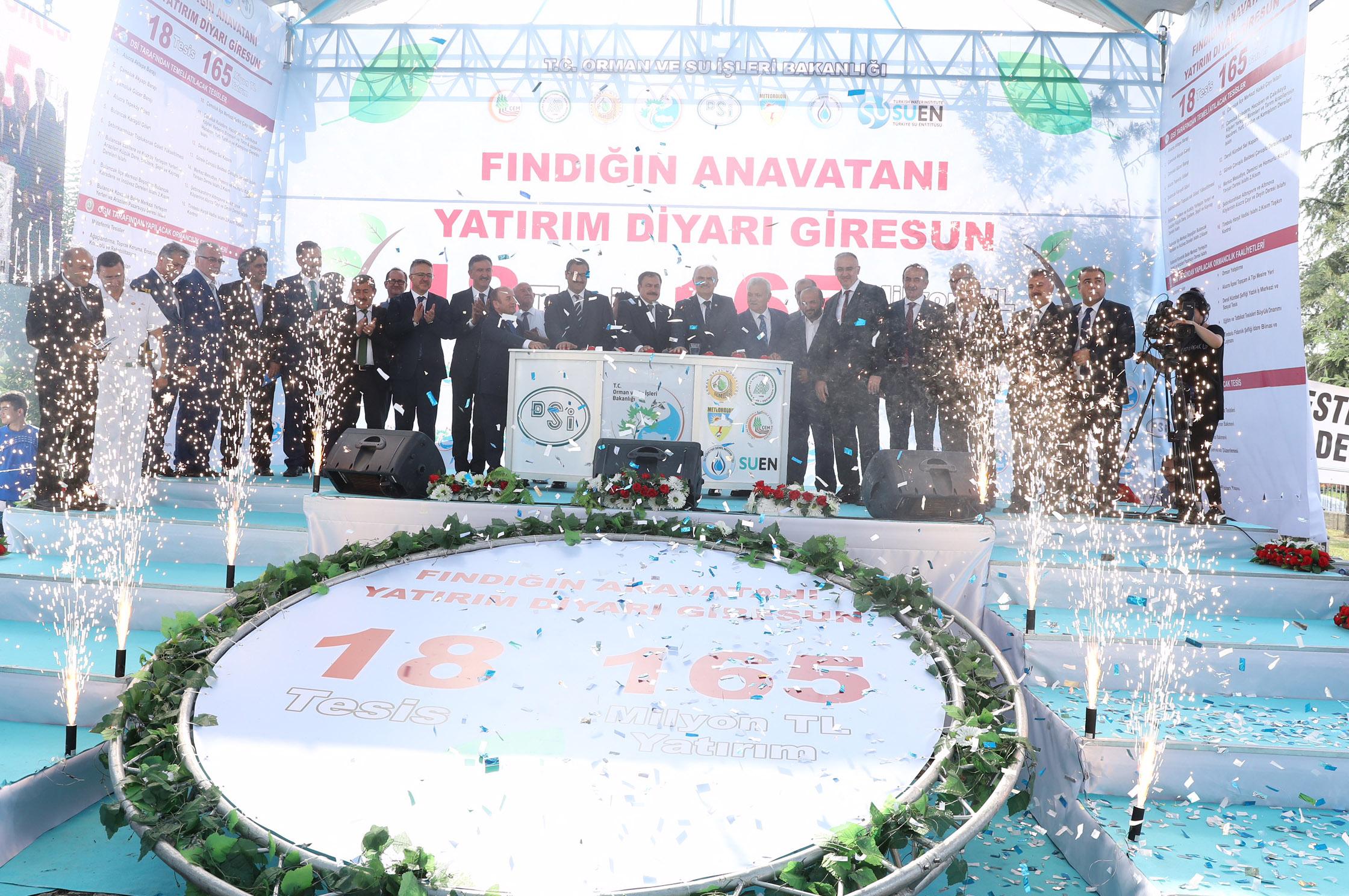 Bakanı Eroğlu Giresun'da 18 Tesisin Temelini Attı
