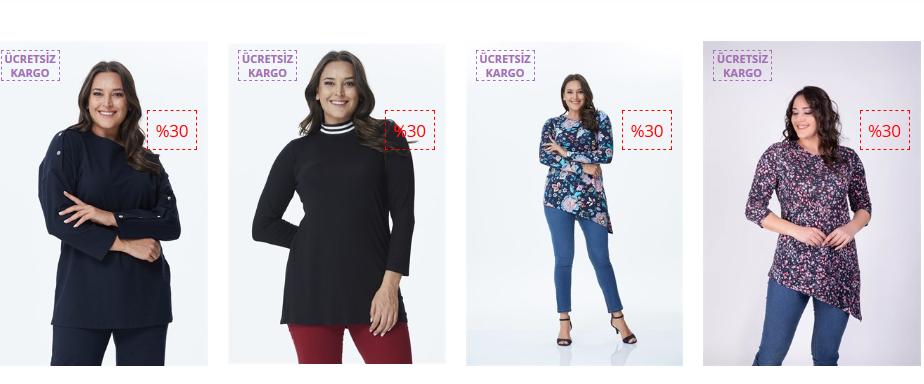 Ucuz Büyük Beden Tunik Modelleri ve Fiyatları - www.mylinemoda.com