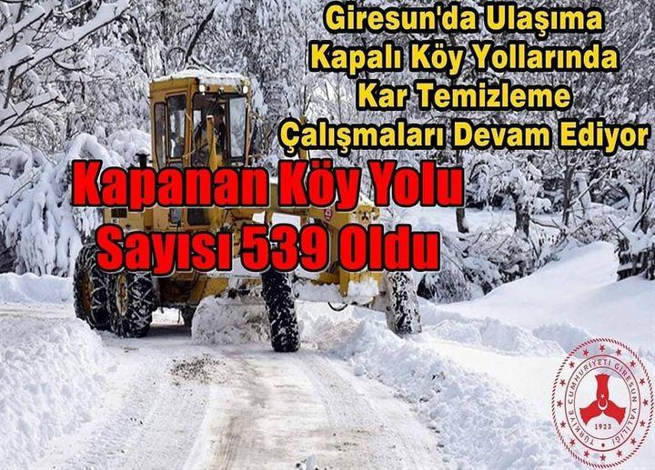 Giresun'da Kar Yağışı Nedeniyle Kapanan Köy Yolu Sayısı 539 Oldu