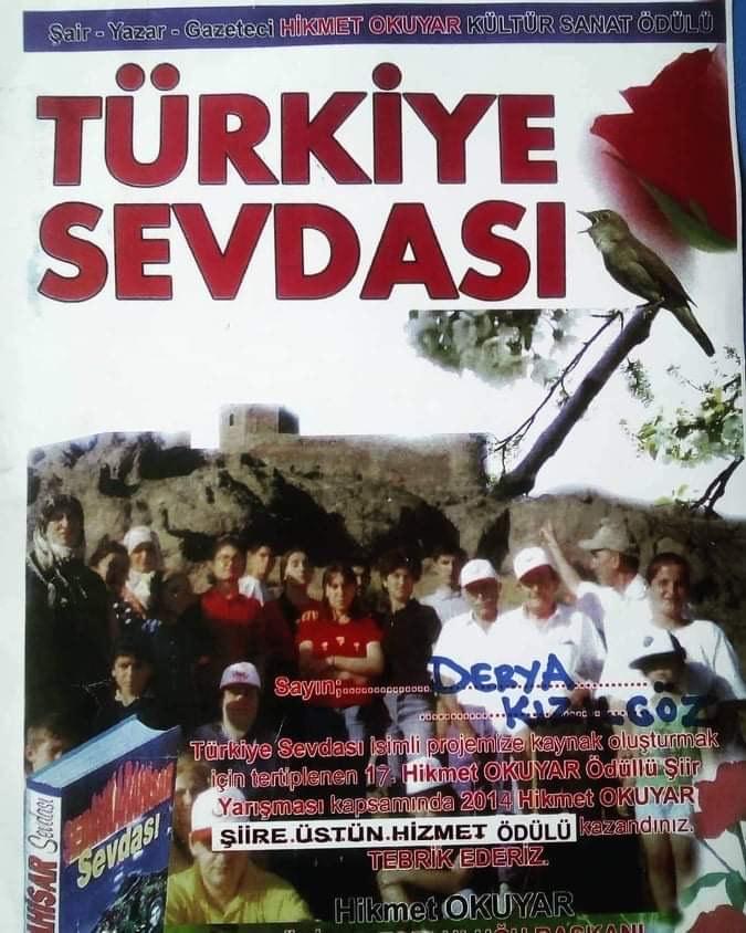 SİVASLI ŞAİR DERYA KIZILGÖZ ÖDÜLÜNÜ ARMUTLU'DA ALDI ..