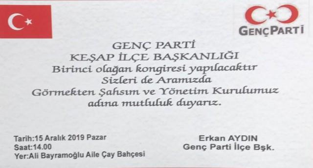 GENÇ PARTİ KEŞAP'DA KONGREYE