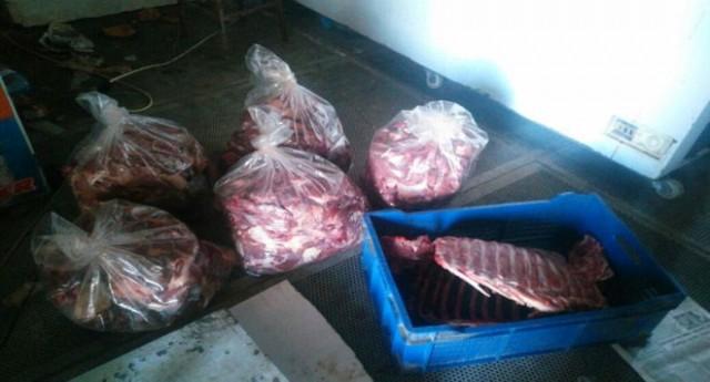 Bulancakta 700 kilo domuz eti ele